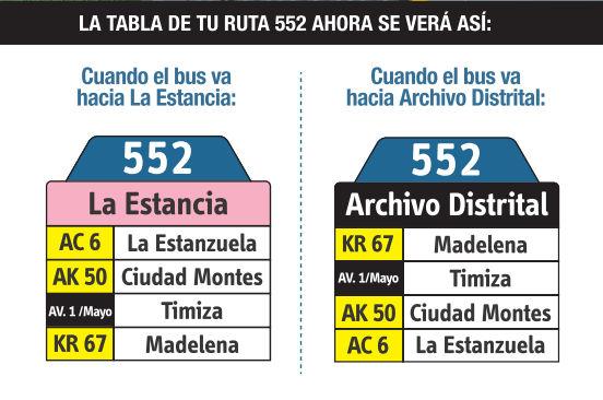 Ruta SITP: 552 Galicia ↔ Centro [Urbana] 7