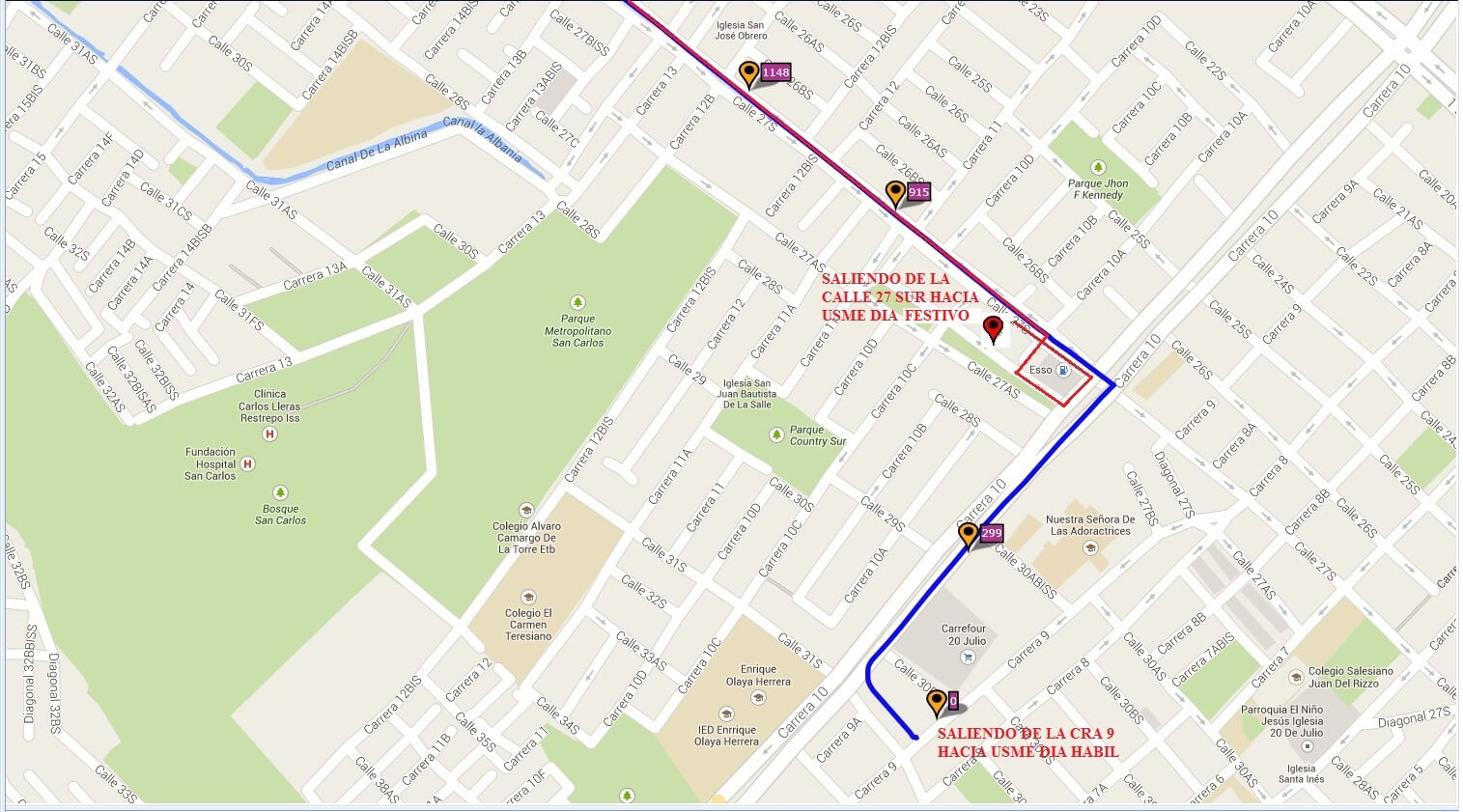 Ruta SITP: 624 Verbenal del Sur ↔ 20 de Julio [Urbana] 4