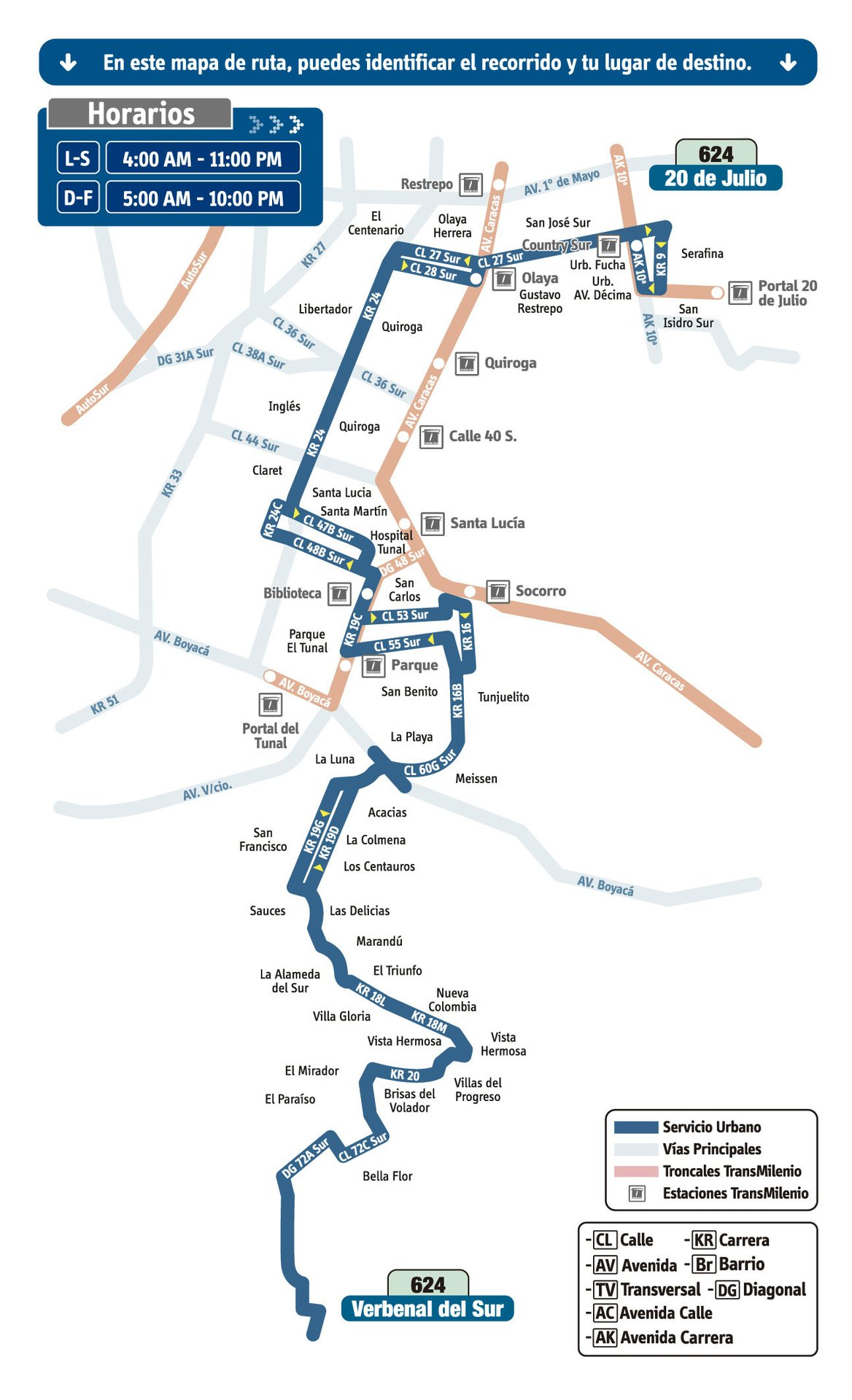 Ruta SITP: 624 Verbenal del Sur ↔ 20 de Julio [Urbana] 1