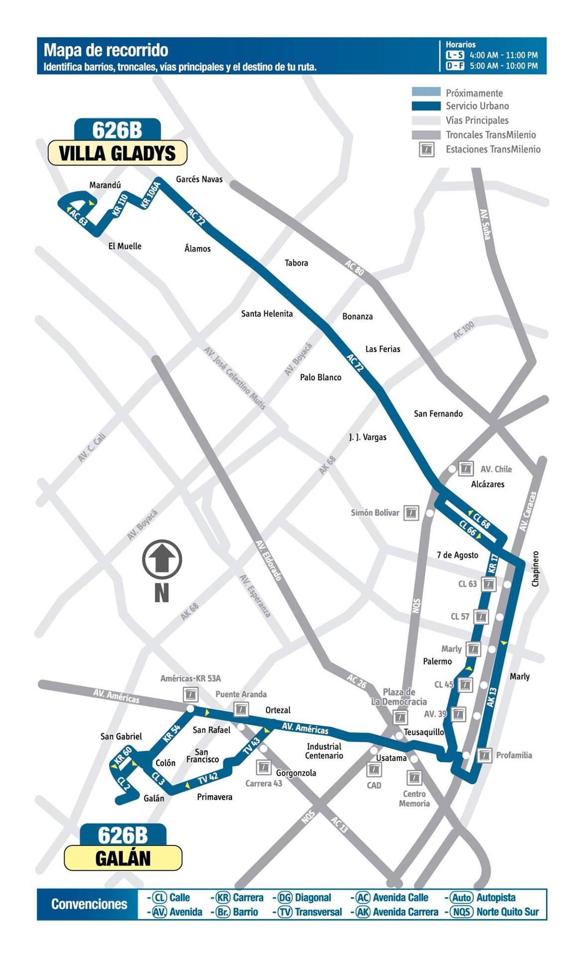 Ruta SITP: 626B Villa Gladys ↔ Galán [Urbana] 2