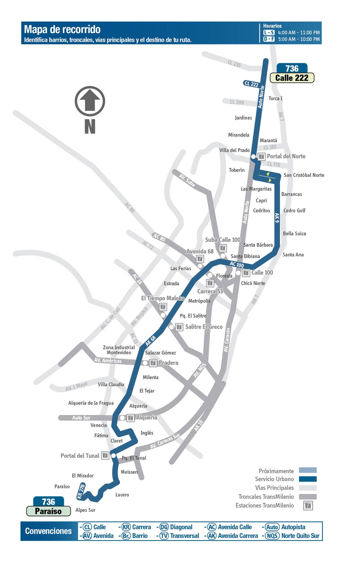 Ruta SITP: 736 Calle 222 ↔ Paraíso [Urbana] 3