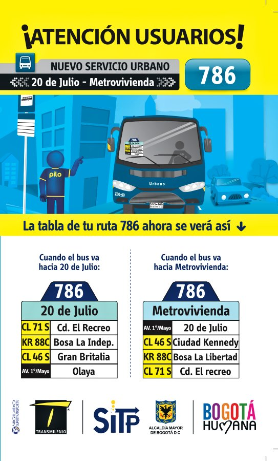 Inicia la ruta urbana: 786 20 de Julio - Metrovivienda