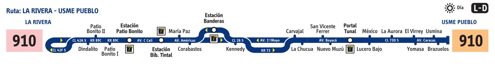 Ruta SITP: 910 Usme Pueblo ↔ La Rivera [Urbana] 1