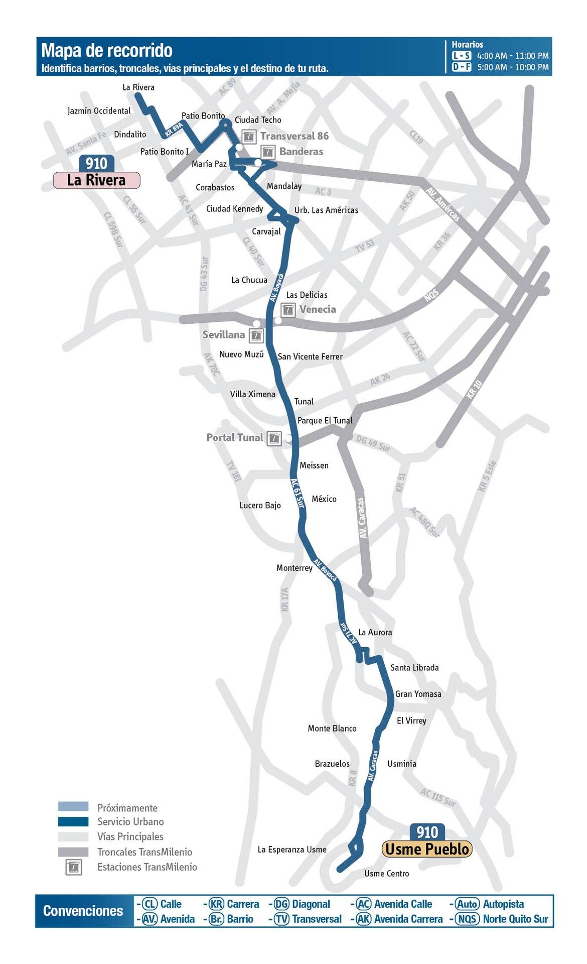 Ruta SITP: 910 Usme Pueblo ↔ La Rivera [Urbana] 2