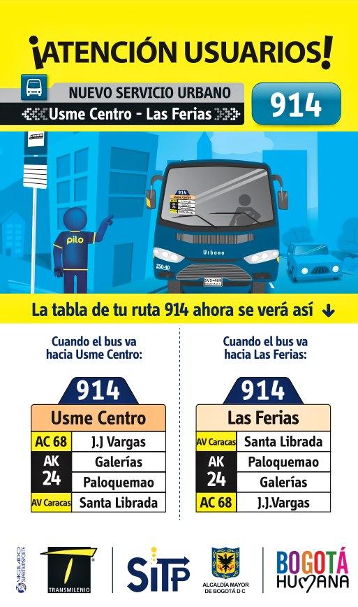 Inicia operación la ruta: 914 Usme Centro - Las Ferias
