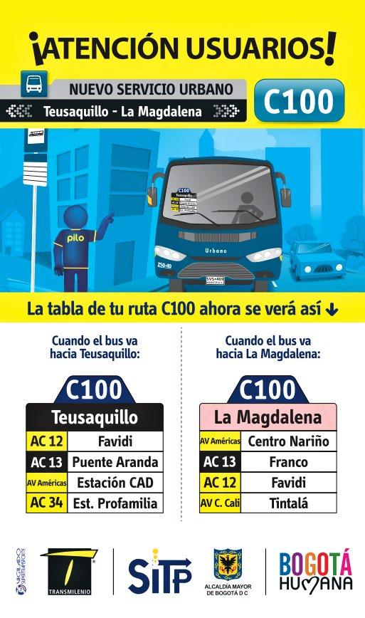 Nueva ruta urbana - C100 Teusaquillo - La Magdalena