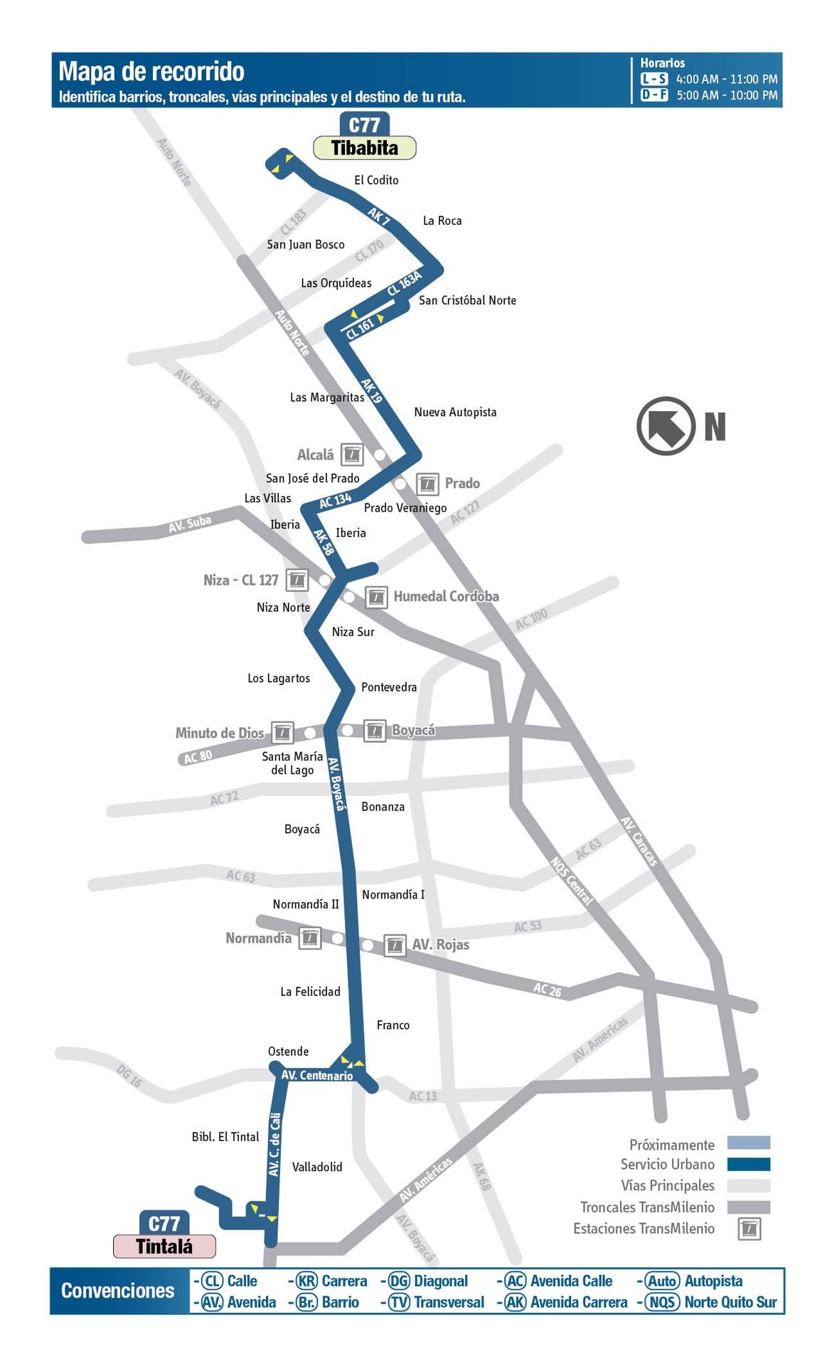 Ruta SITP: C77 Tintalá ↔ Lijacá [Urbana] 3