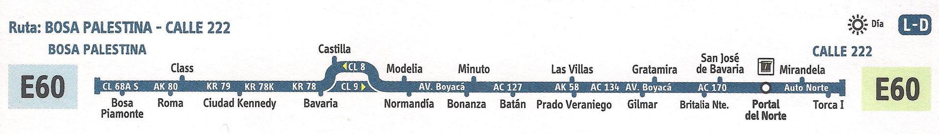Ruta SITP: E60 Bosa, Palestina ↔ Calle 222 [Urbana] 1
