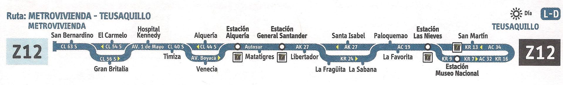 Ruta SITP: Z12 Metrovivienda ↔ Teusaquillo [Urbana] 1
