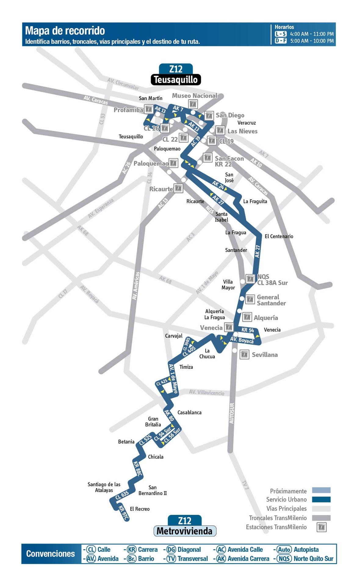 Ruta SITP: Z12 Metrovivienda ↔ Teusaquillo [Urbana] 2