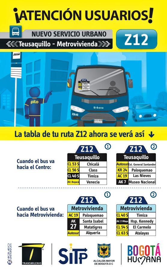 Nueva ruta urbana Z12: Metrovivienda - Teusaquillo