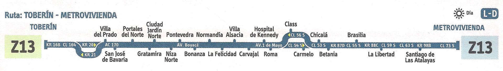 Ruta SITP: Z13 Toberín ↔ Metrovivienda [Urbana] 4