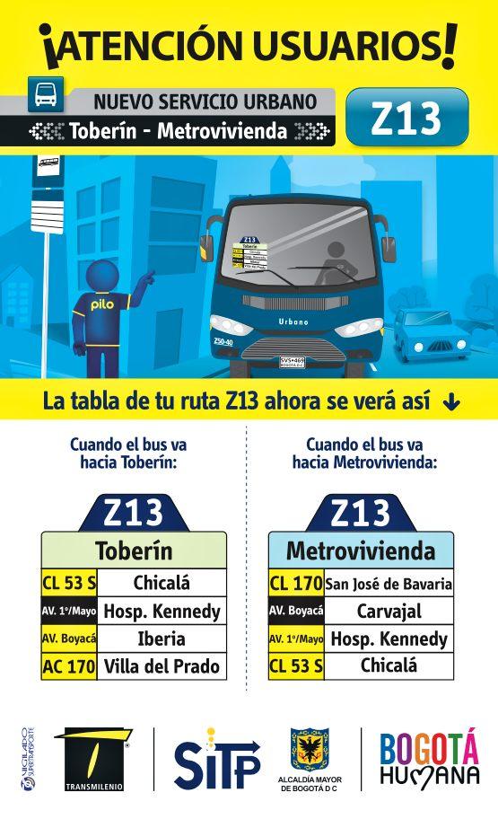 Nueva Ruta Z13 Toberín - Metrovivienda
