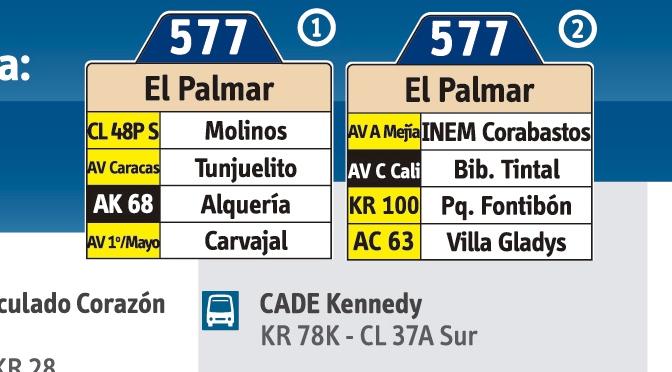 Ruta 577 - Mapa esquema y paraderos