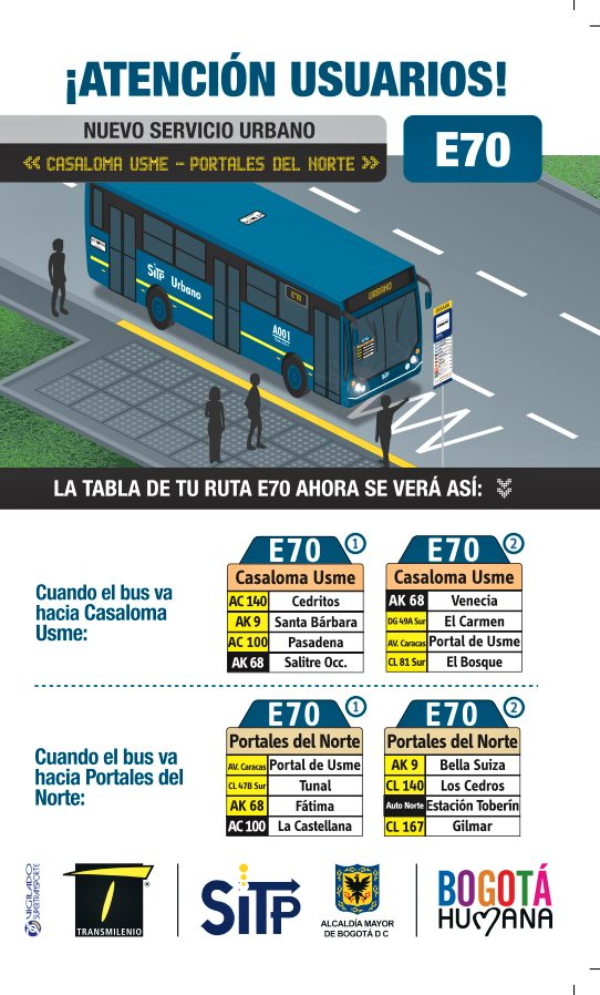 E70 Casaloma - El salitre (nueva ruta urbana, no anunciada oficialmente)