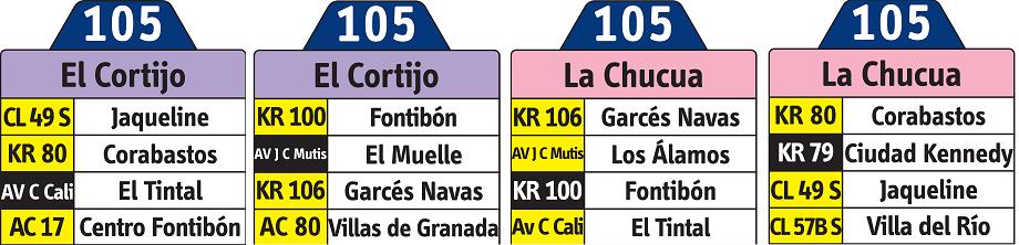 Ruta urbana 105 - rutero