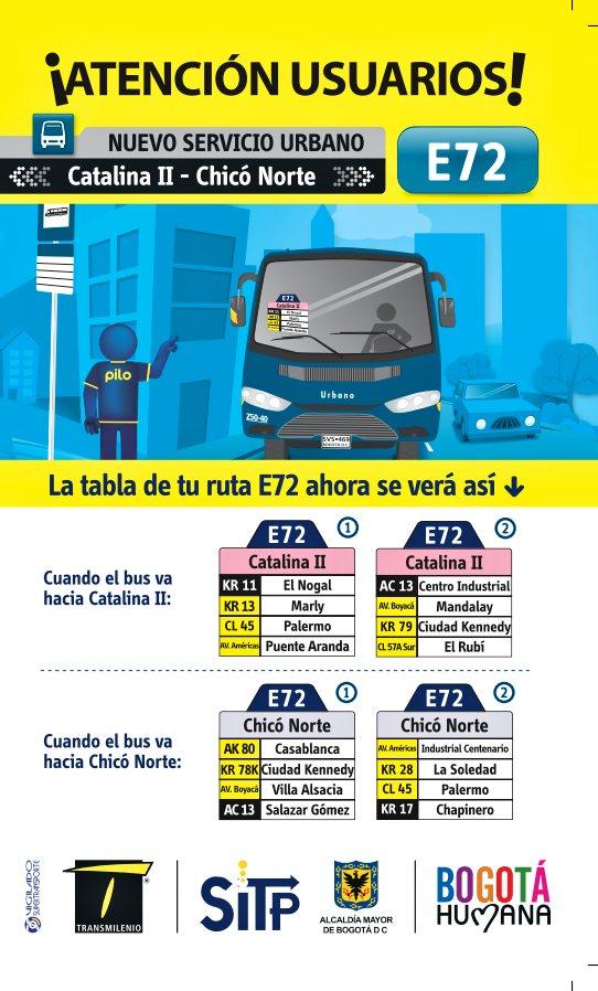 E72 - nueva ruta urbana del SITP