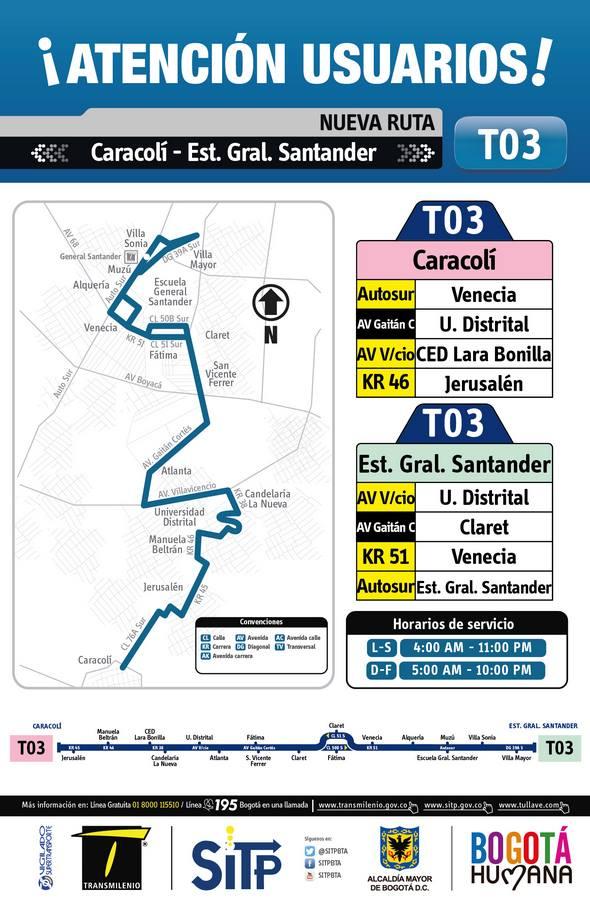 Ruta T03, temporal - Inicia hoy (extraoficial) 1