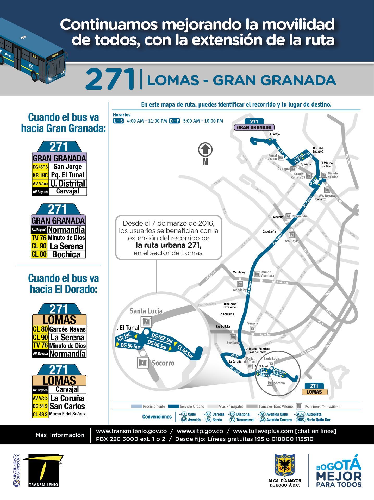 Ruta SITP: 271 Marco Fidel Suárez ↔ Villas de Granada [Urbana] 7
