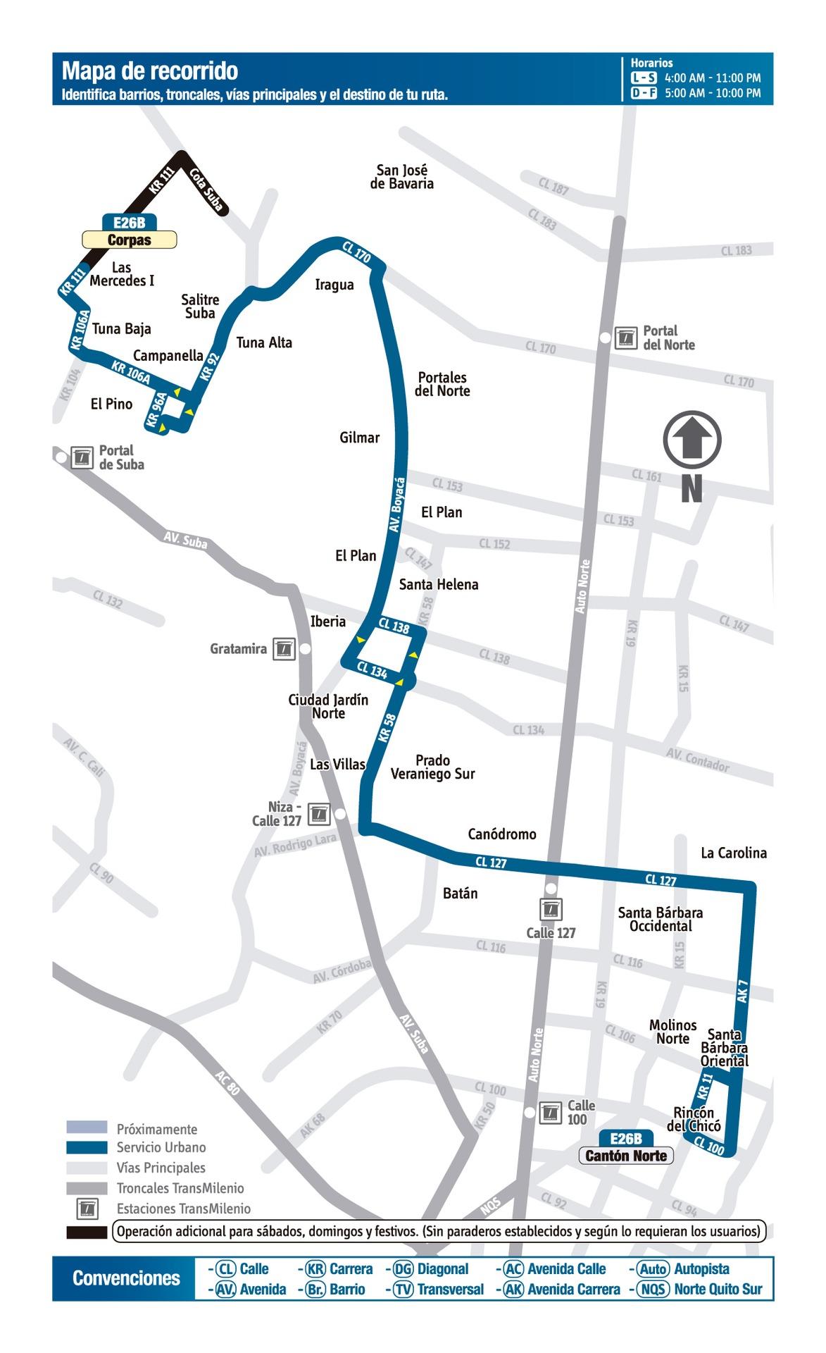 Ruta SITP: E26B Corpas ↔ Cantón Norte/Cota [Urbana] 1