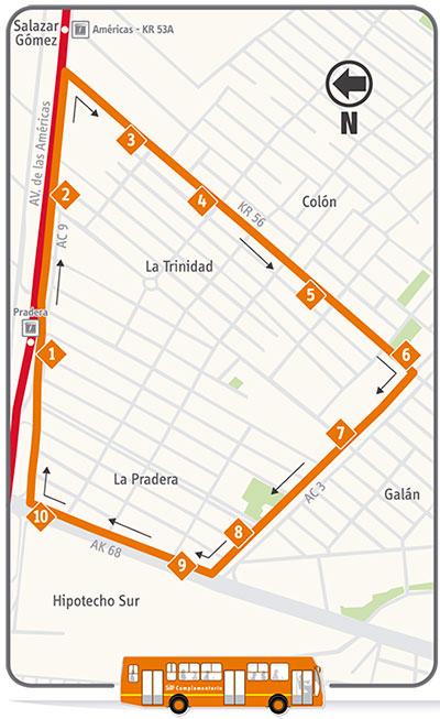 Mapa esquemático de la ruta 22-3 San Gabriel
