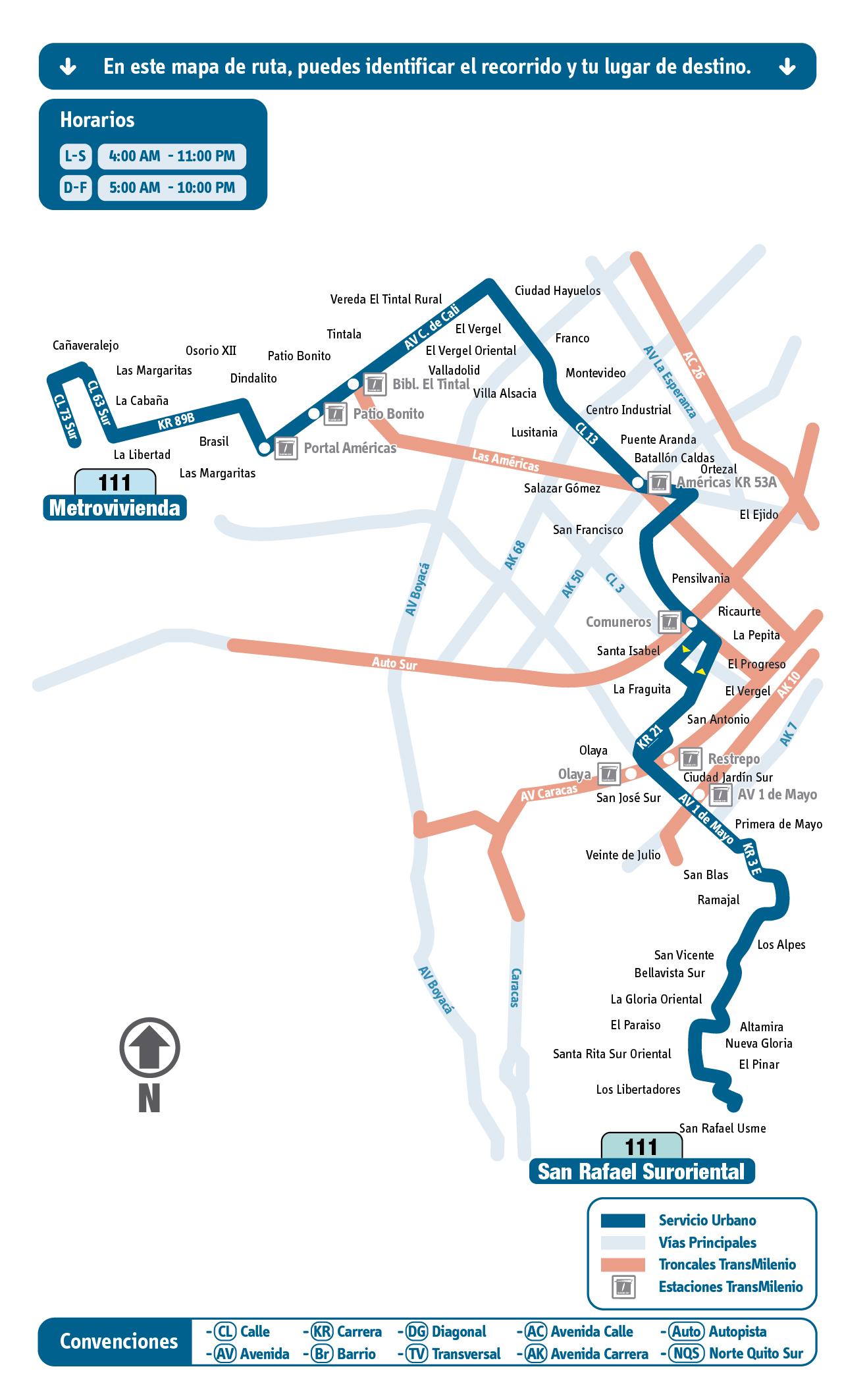 Mapa Esquemático Ruta 111