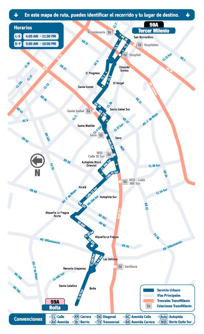 Mapa esquema ruta 59A