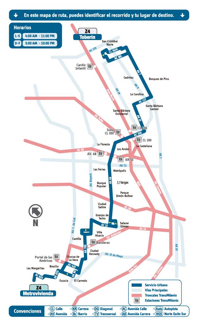 Mapa Esquemático Ruta Z4