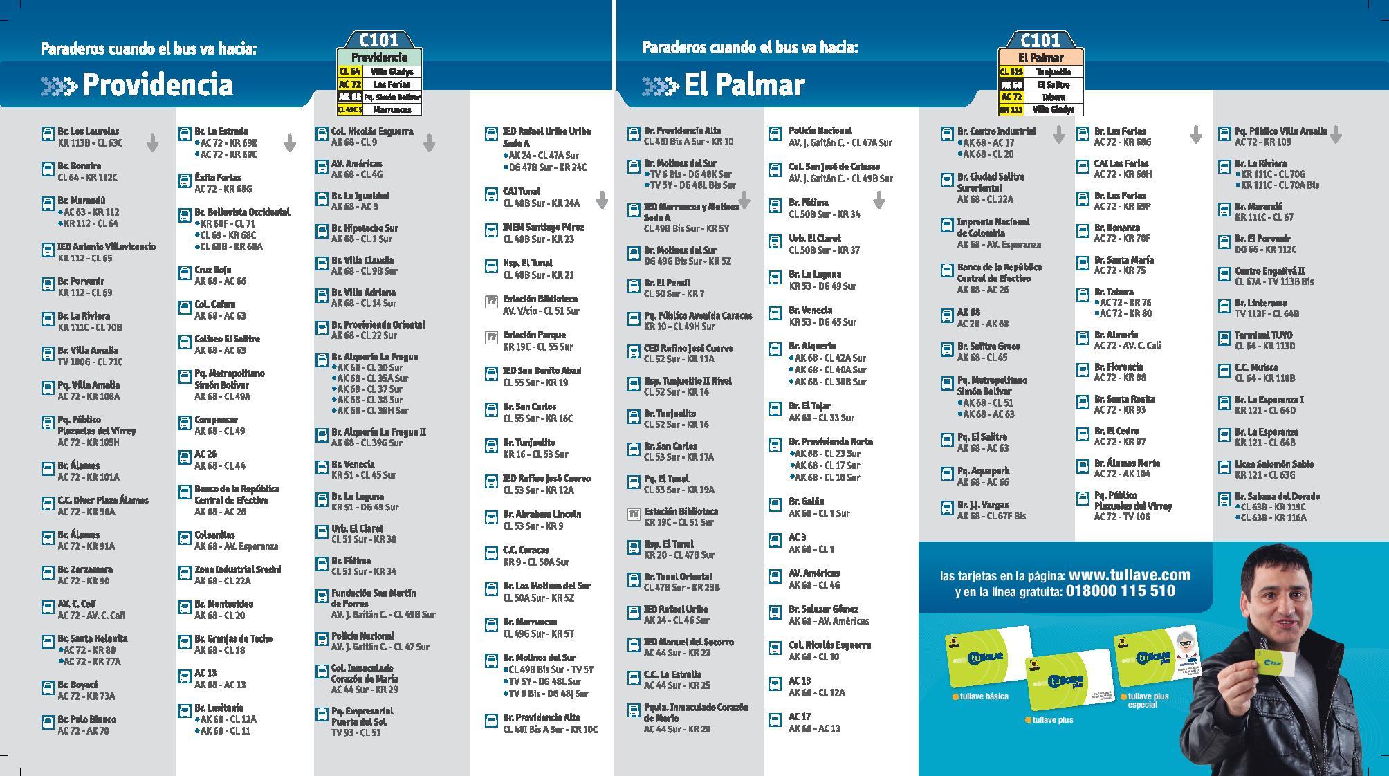 Paraderos C101 extendida