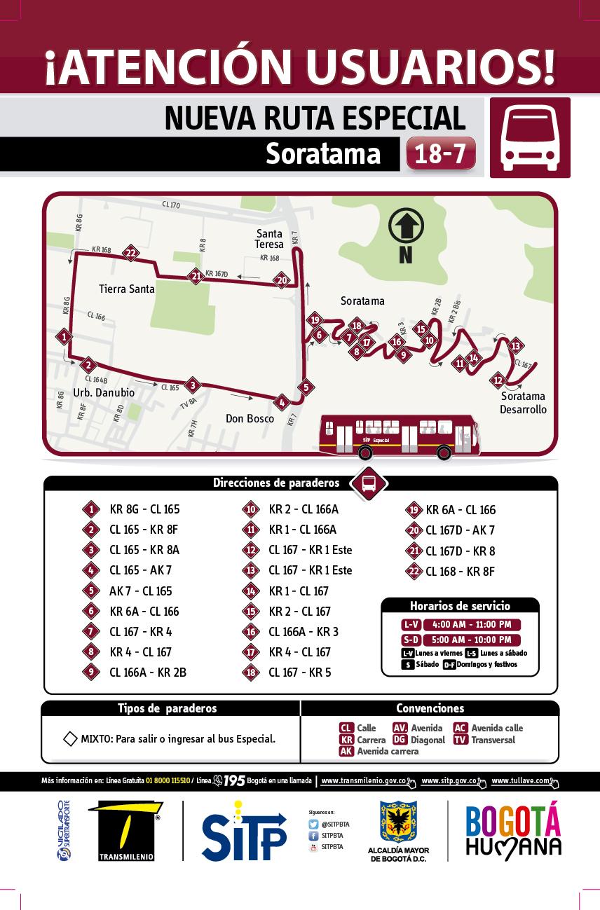 Mapa Esquema de la Ruta 18-7 Soratama