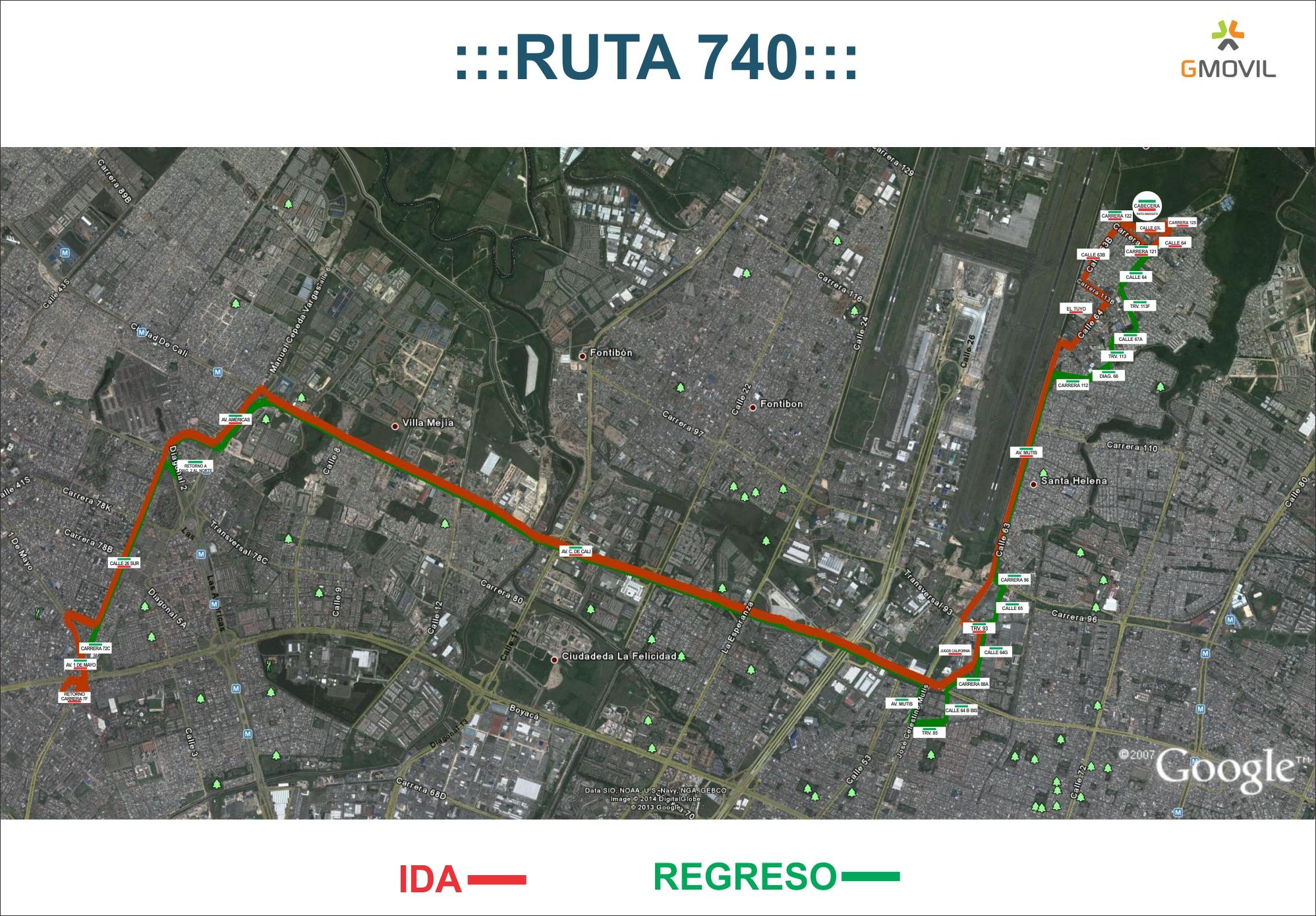 Ruta urbana 740 - mapa aéreo
