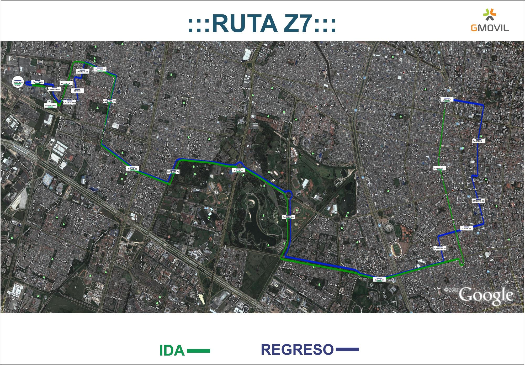Ruta urbana Z7 - mapa aéreo