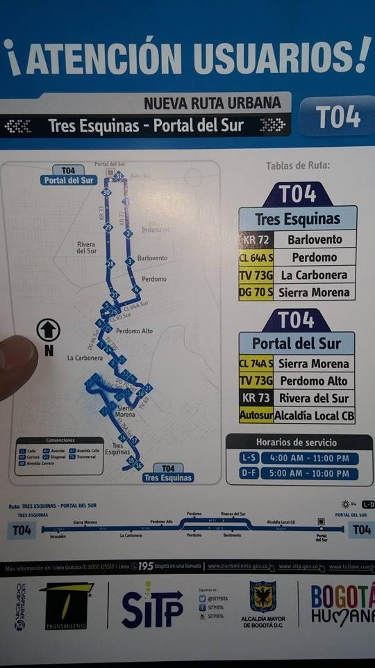 Folleto Impreso de la ruta T04