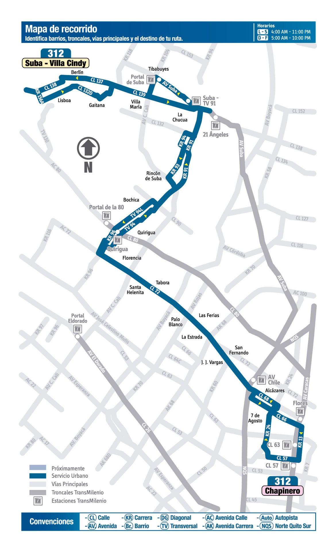 Ruta SITP: 312 Villa Cindy ↔ Chapinero (Recortada hasta Álamos Norte) [Urbana] 5