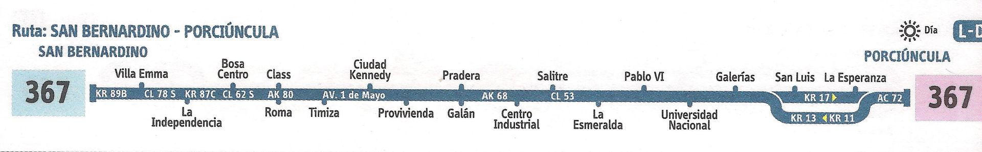 Ruta SITP: 367 San Bernardino ↔ Porciúncula [Urbana] 3