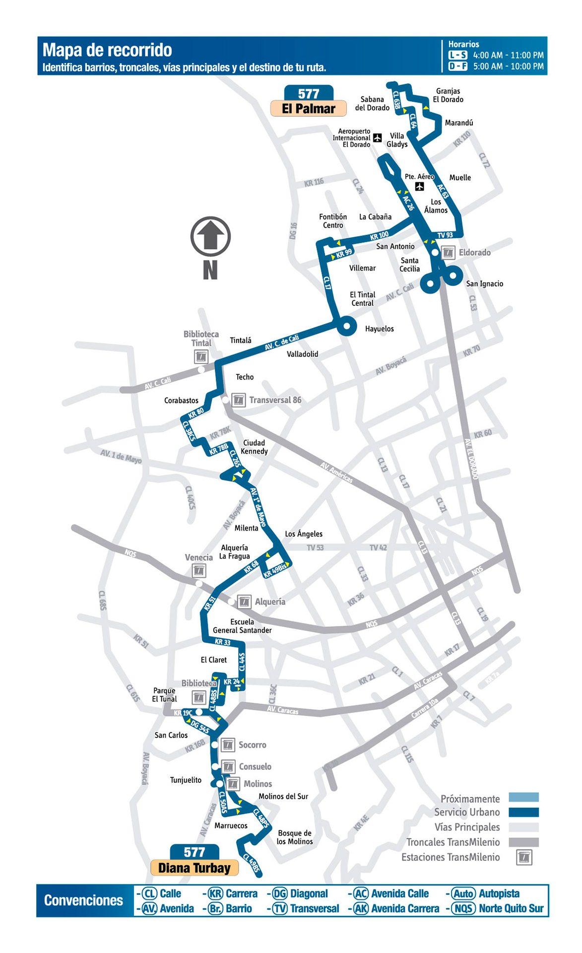 Ruta SITP: 577 El Palmar ↔ Diana Turbay [Urbana] 4