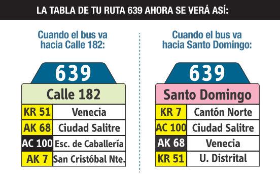 Ruta SITP: 639 Calle 182 ↔ Santo Domingo [Urbana] 2