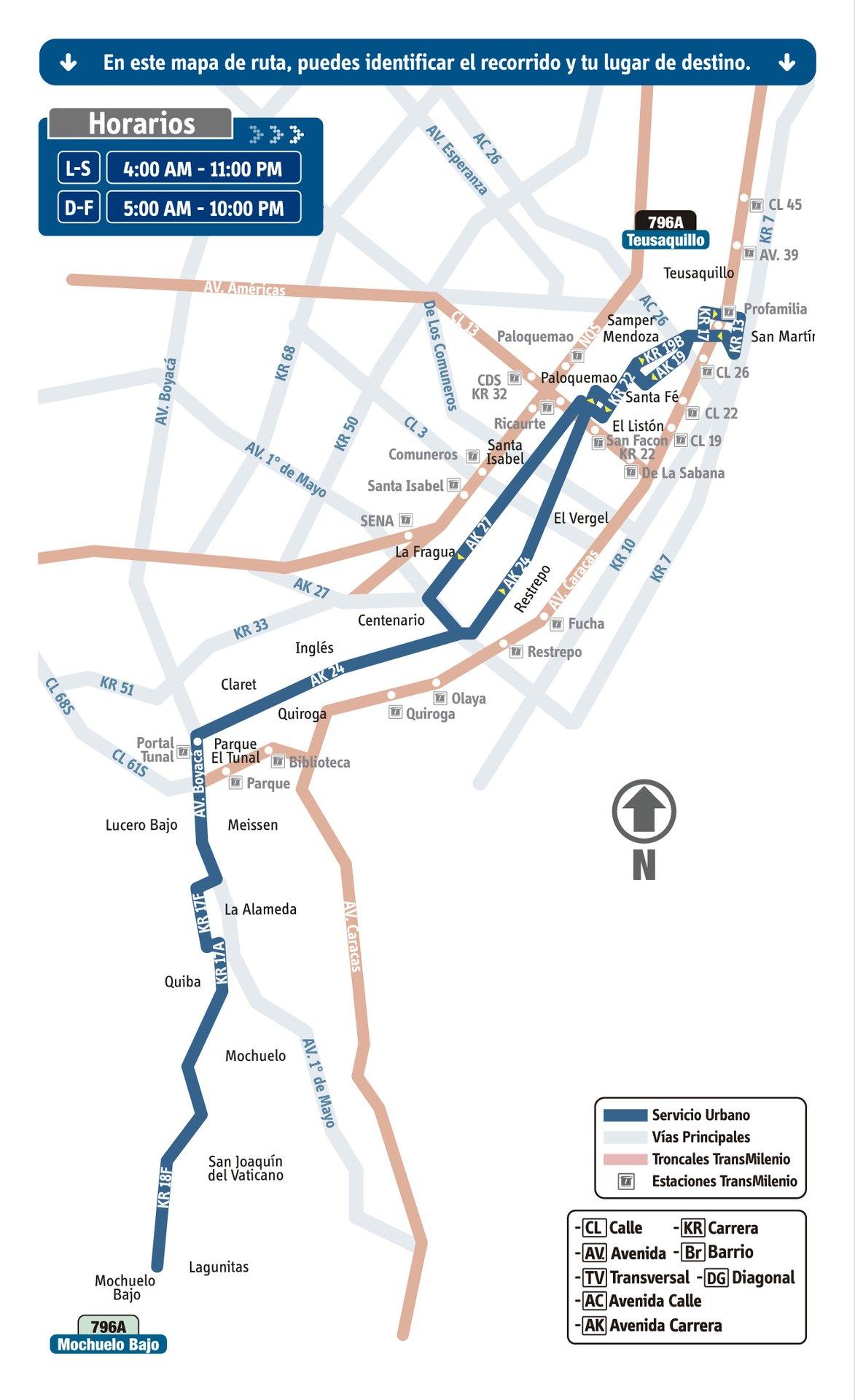 Ruta SITP: 796A Mochuelo Bajo ↔ Teusaquillo [Urbana] 2