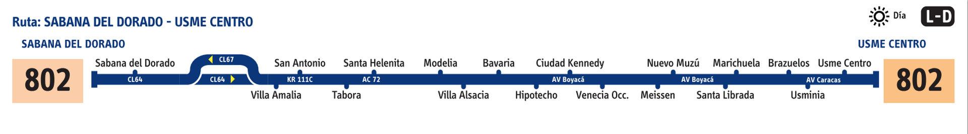 Ruta SITP: 802 Usme Pueblo ↔ Sabana del Dorado (Recortada hasta Carvajal) [Urbana] 1