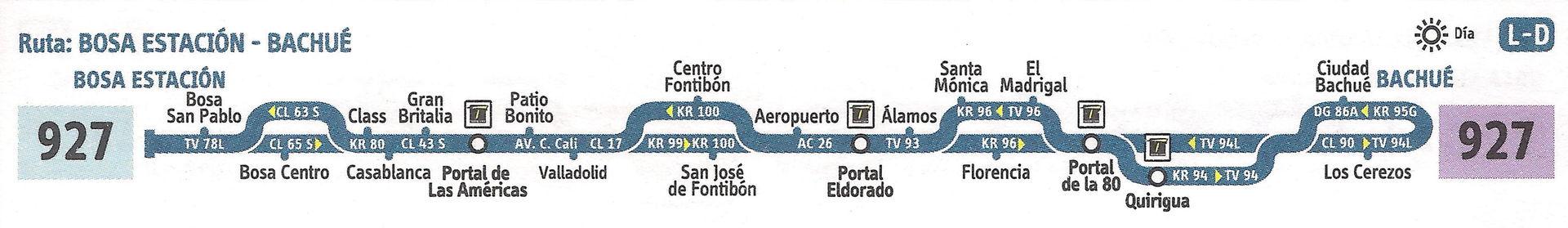 Ruta SITP: 927 Bachué ↔ Bosa, San Pablo [Urbana] 1