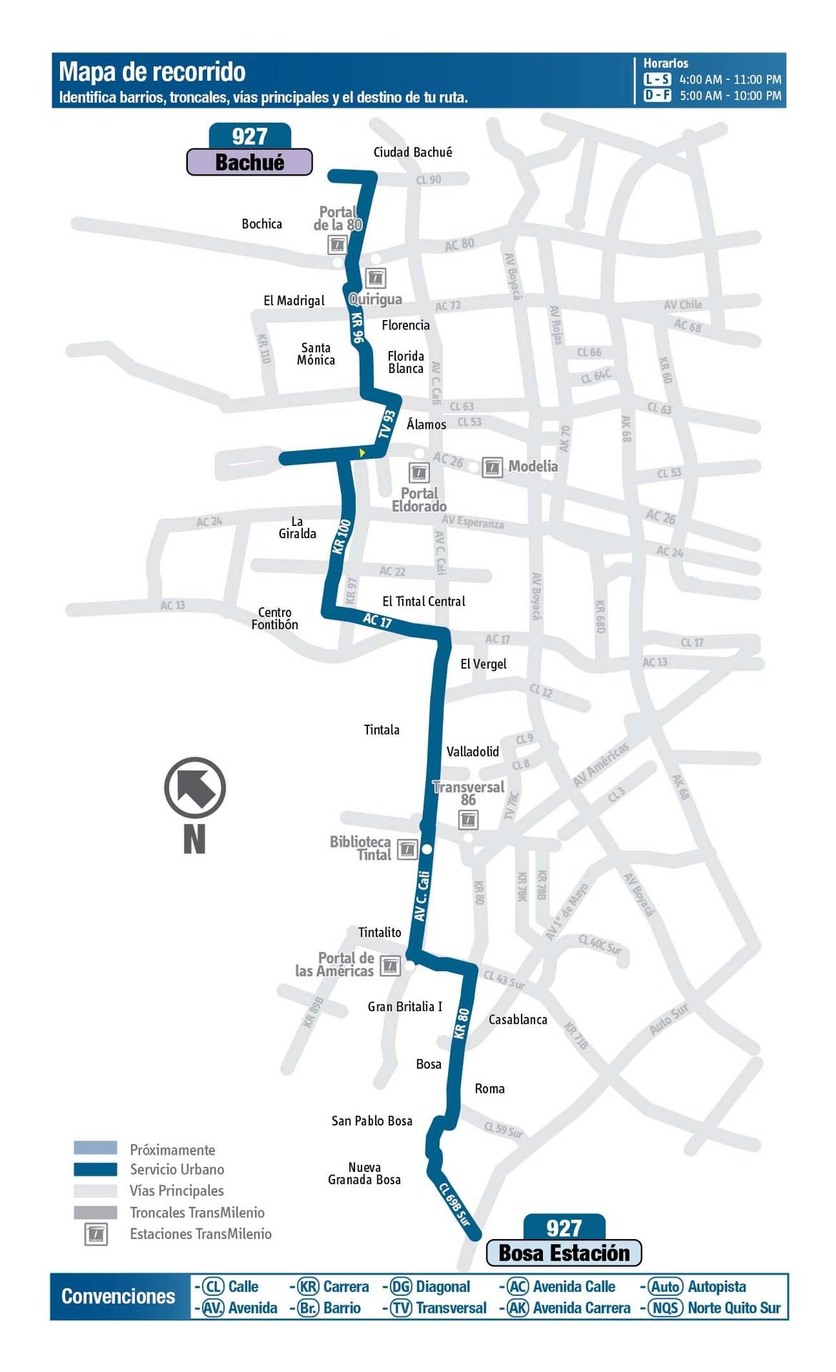 Ruta SITP: 927 Bachué ↔ Bosa, San Pablo [Urbana] 2