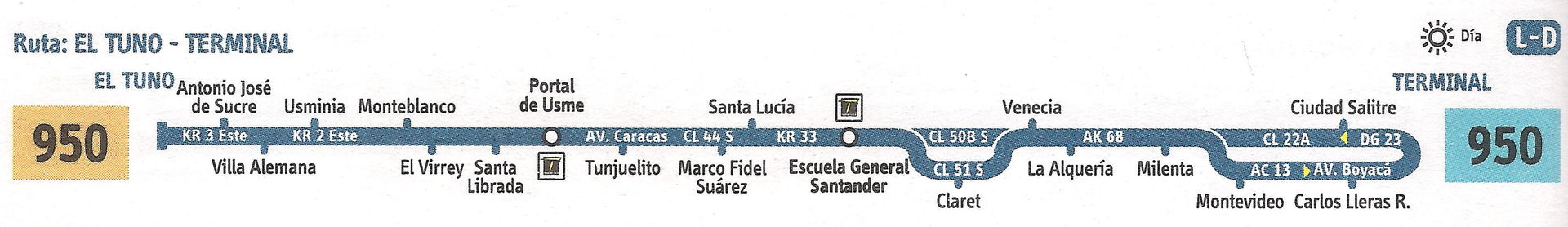 Ruta SITP: 950 El Tuno ↔ Terminal (Recortada hasta Venecia) [Urbana] 2