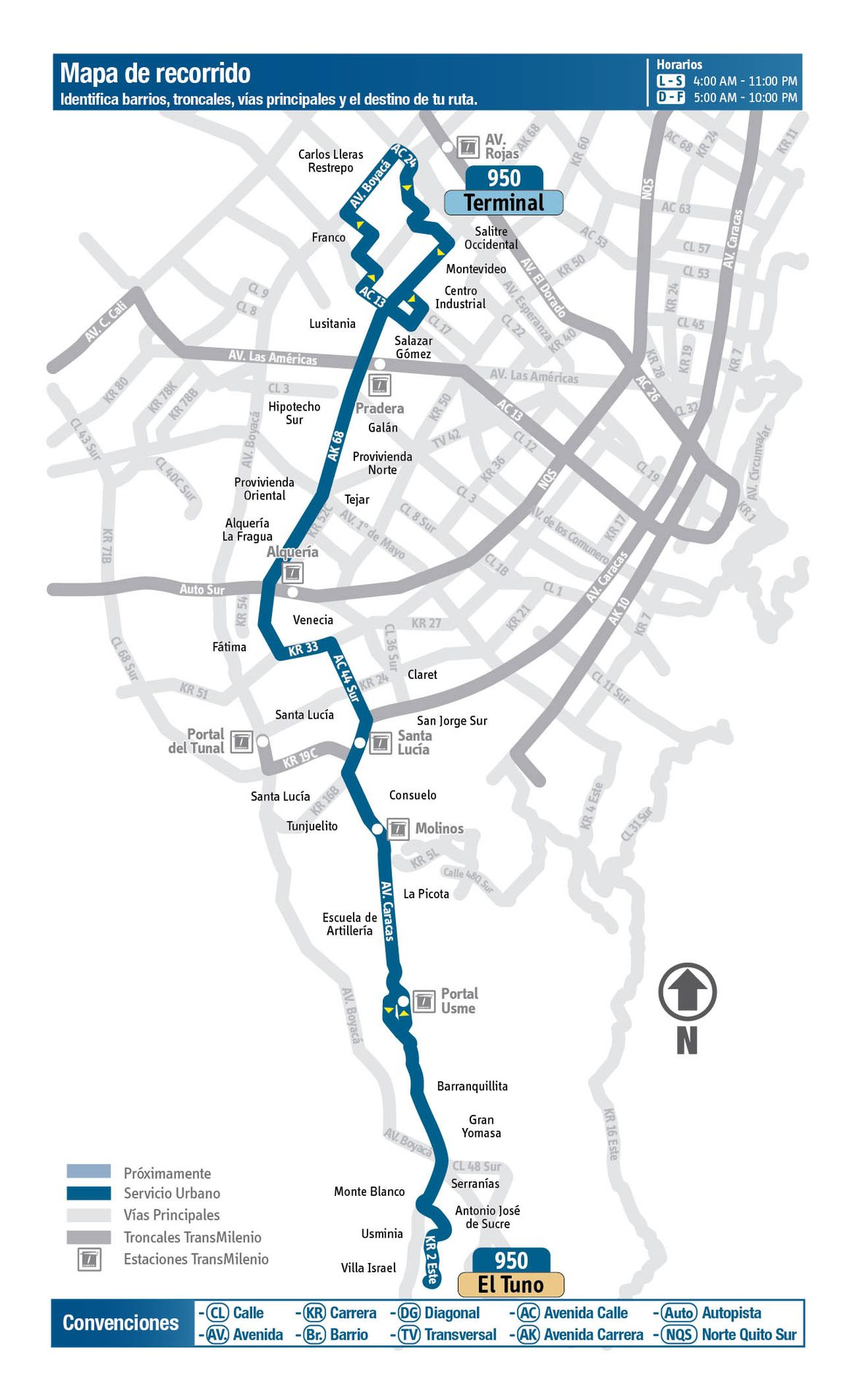 Ruta SITP: 950 El Tuno ↔ Terminal (Recortada hasta Venecia) [Urbana] 3