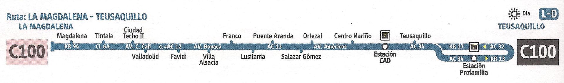 Ruta SITP: C100 La Magdalena ↔ Teusaquillo [Urbana] 2