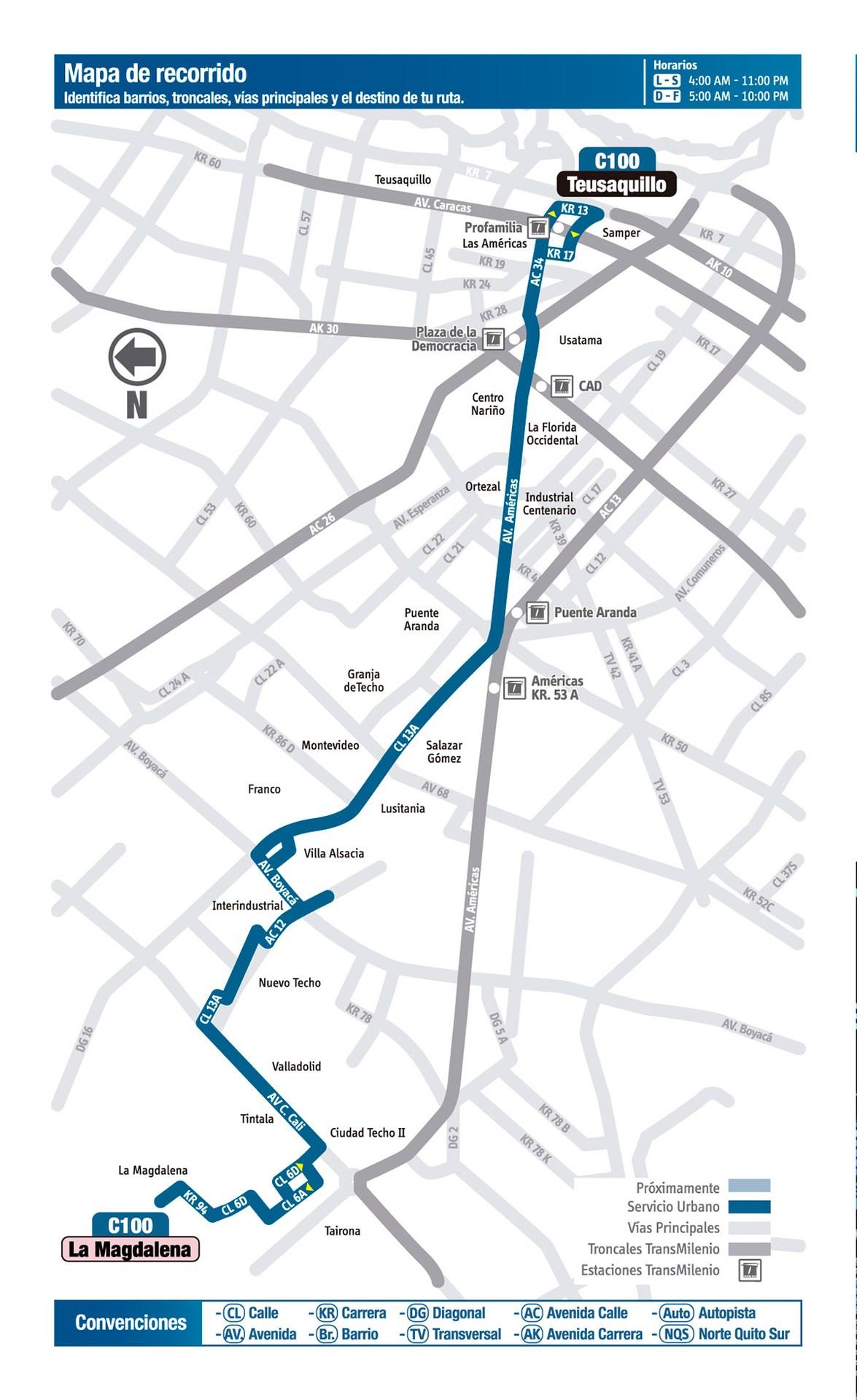 Ruta SITP: C100 La Magdalena ↔ Teusaquillo [Urbana] 3