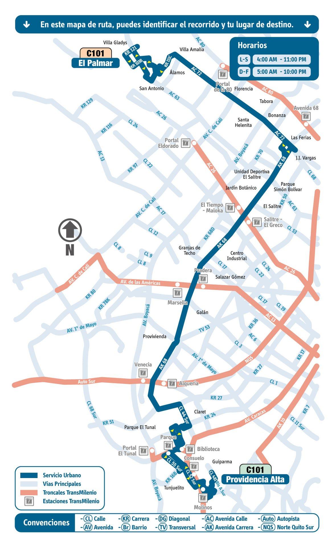 Ruta SITP: C101 Providencia Alta ↔ El Palmar [Urbana] 2