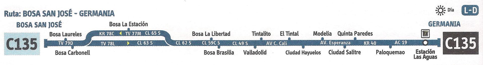 Ruta SITP: C135 Bosá, San José ↔ Germania [Urbana] 1