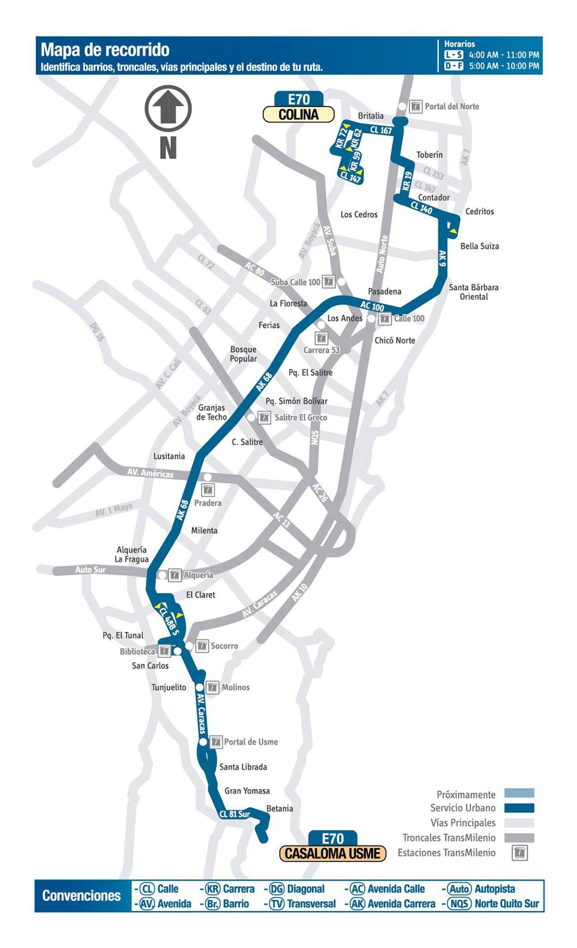 Ruta SITP: E70 Casaloma ↔ Colina [Urbana] 1