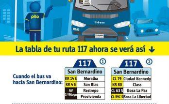 Nueva ruta 117 urbana San Bernadirno-Libertadores