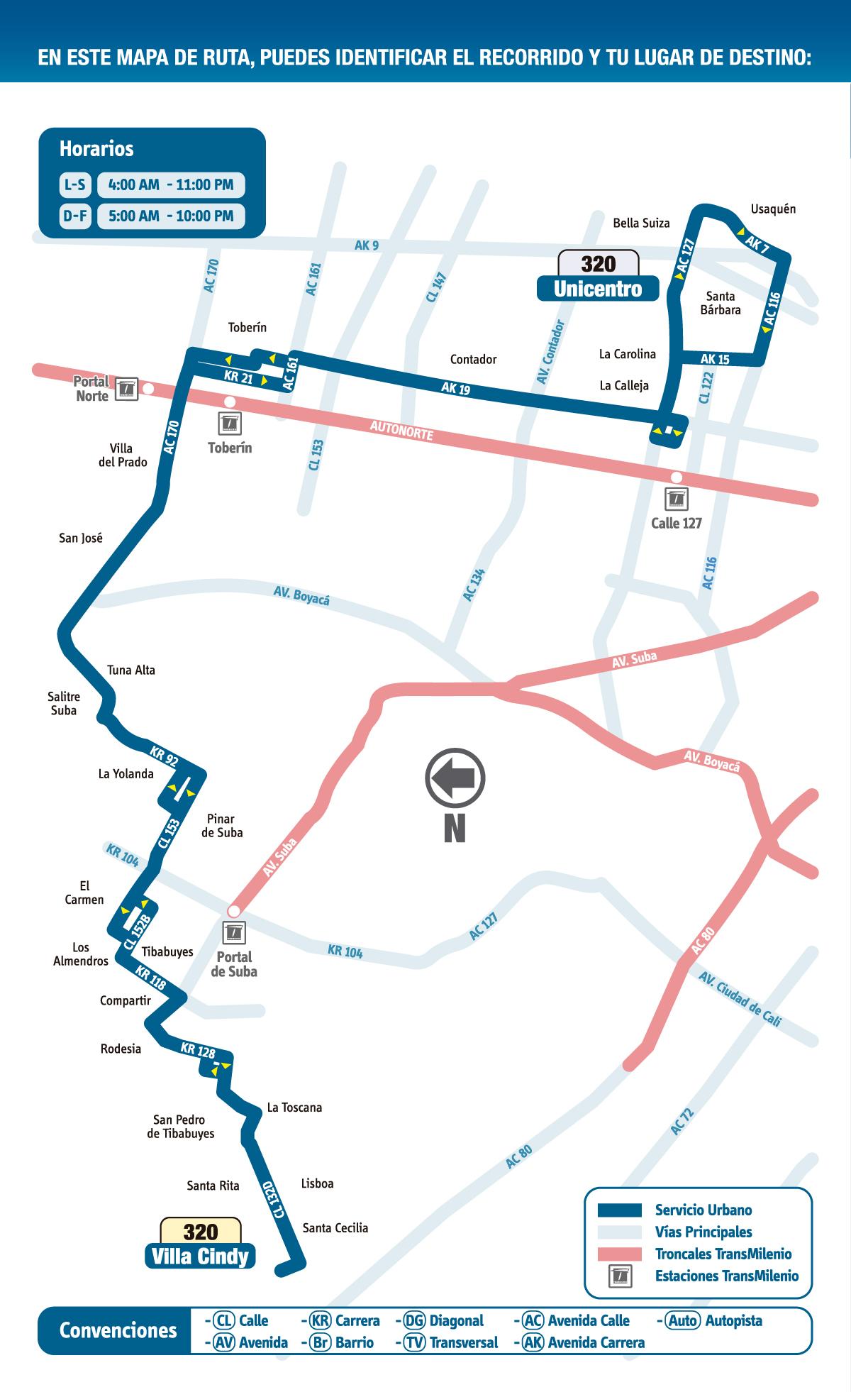 Mapa Esquemático Ruta Urbana 320